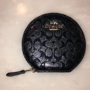 Coach Black Leather Signature Pattern Coin Purse